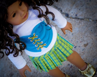 American Girl doll Pleated Skirt and Corset made with Liberty Jane Patterns