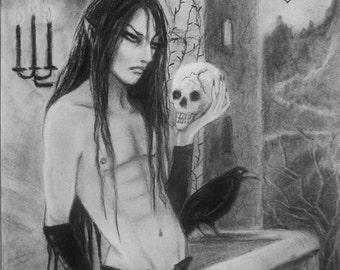 Warlock Gothic Fantasy Art Male Witch Original Charcoal Pencil Drawing Crow Illustration Painting Anime Manga Art Style Demon Magic MPrince