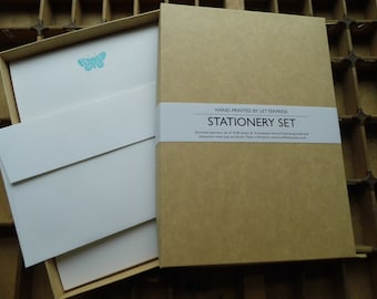 Letterpress boxed writing stationery set blue butterfly Conqueror paper