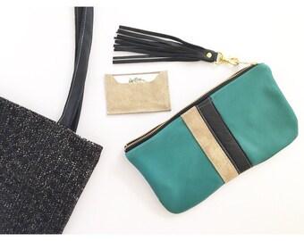 Jade leather clutch - date night clutch - turquoise purse