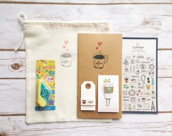 Coffee Lovers Traveler's Notebook Kit, Midori, Washi tape, Planner clip