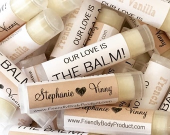 Wholesale Lip Balms - 50 Natural Lip Balms - Soy Wax, Beeswax - Lip Balm Favors Gift Wedding Bridal Custom Label Bulk Chapstick Shower Gift