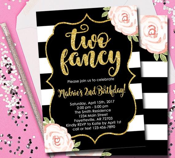 Two Fancy Invitation 2nd Birthday Invitation Two Fancy