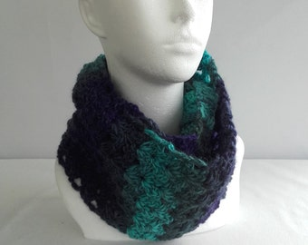 Ladies scarf, infinity scarf, wool cowl, unique scarf, green, purple, blue, pure wool, crochet scarf