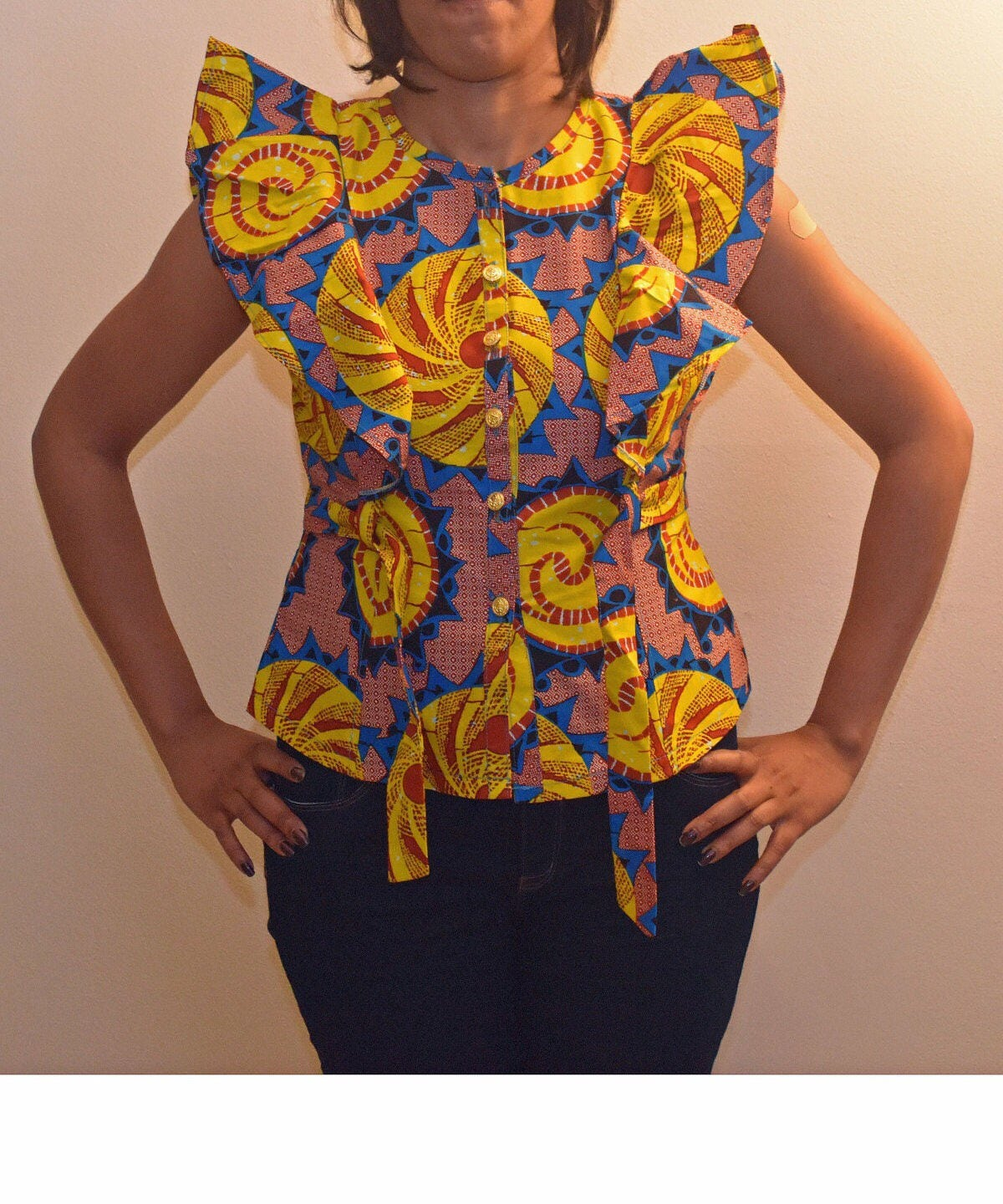 Ankara blouse Ruffle Blouse African Print BlouseSleeveless Pictures Of African Skirts And Blouses