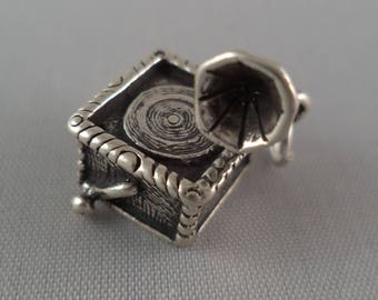 STERLING SILVER 3D Victrola Phonograph Charm for Charm Bracelet