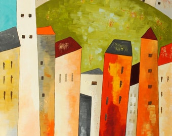 In the green - acrylic on canvas/stretcher - H 80 cm - W 60 cm - colorful cities