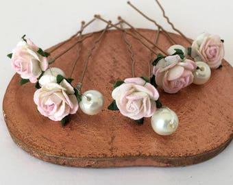 Pale Pink Rose Hair Pins, Rose and Pearl Wedding Hair Pins, Bridal Hair Accessories, Bridesmaid Hair Pins, Rose and Ivory Pearl Hair Pins