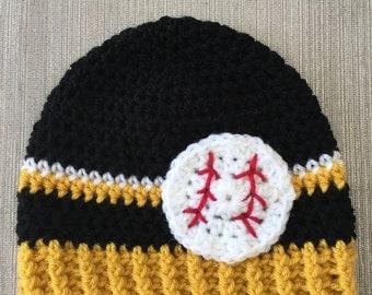 Black, gold and white handmade crochet baseball beanie hat