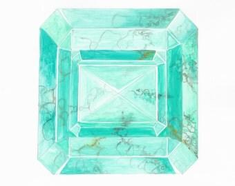 Crystal Painting, Turquoise Art, Turquoise Painting, Mineral Art, Boho, Gem Art, Crystal Decor, Crystal Art, Gemstone Art, Girly Modern Art
