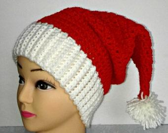 Santa Hat - Adult Santa Hat- Teen Santa Hat - Christmas Hat - Crochet Santa Hat - Crochet Christmas Hat - Holiday Hat