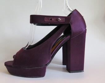 Lanvin Vintage Strappy Open Toe Wedge Heels in Purple Satin