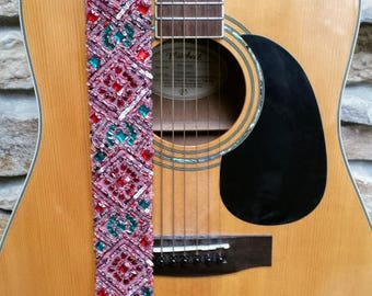 Pink Diamond Beaded Guitar Strap; Statement Guitar Strap; Unique Custom Guitar Straps; Handmade Straps; Gift for Her; Guitar Straps