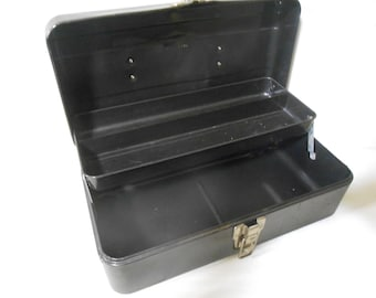 """Vintage Rusty Dented Black Metal Tackle Box from 1960s - 13"""" x 6.5"""" x 5"""" - Display Box for Man Cave Items"""