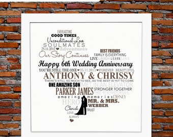 6th anniversary gift 6 years anniversary gift 6 years of marriage 6th wedding