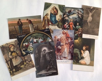 Vintage Postcards, Old Colour Religious Images, Assemblage / Collage Supplies, Paper Ephemera, 9 items of Ephemera