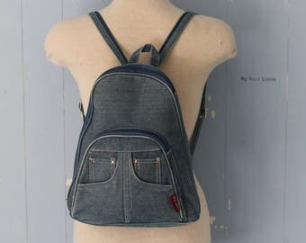 Vintage 90s Denim Backpack/Small Backpack/Vegan/