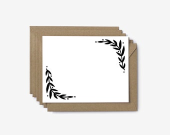 Foliage Pattern Hand Illustrated Screen Printed Note Cards - Set of 6