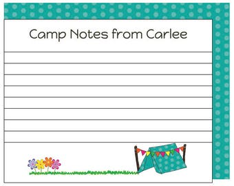Girl Summer Camp Bunk Notecards, Personalized Camp Stationery, Sleepaway Camp Note and Envelope Set, Custom Printed Camp Notecards for Girls