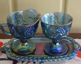 Blue Carnival Glass Set of Creamer, Sugar Bowl and Butter Dish or Tray Iridescent Leaves Grapes Clusters