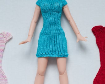 Knitting dress for Azone dolls.