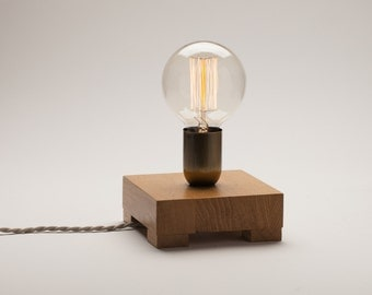 Edison lamp reclaimed pine wood lamp table lamp edison bulb