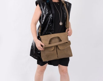 Taupe Leather Bag, Transformer Bag, Designer Bag, Crossbody Bag, Women's Handbag, Fold Over Bag, Laptop Bag, Messenger Bag, Handmade Tote
