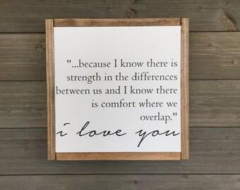 Love sign, wood sign, modern farmhouse decor, I love you