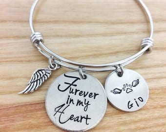 Forever in my heart - FUREVER in my heart - Pet memorial bracelet jewelry necklace - Hand stamped jewelry - Pet loss bracelet