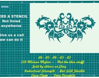 Tattoo Style Dragon  STENCIL Tattoo StyleTough Reusable 350 Micron Material Various Sizes  #T048