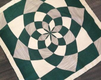 Dark Green and Cream Geometric Design Scarf