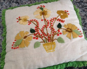 Vintage 70s Crewel Throw Pillow