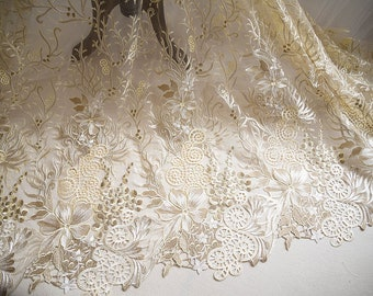 Luxury Gold Lace Fabric With Embroidered Flowers Tulle Lace Fabrics By The Yard