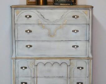Antique Highboy Five Drawer Dresser