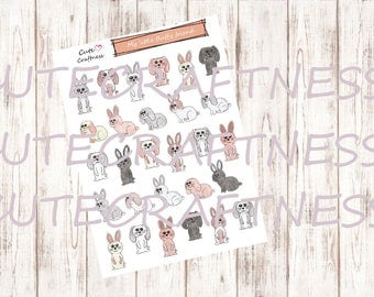 cute little bunny stickers planner