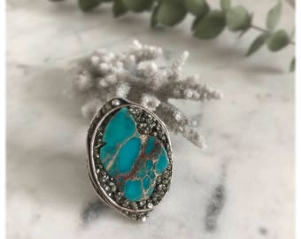 Raw Turquoise Ring, Boho Ring Gift for Her, Bohemian Ring, Raw Statement Ring, Adjustable Boho Ring, Turquoise Jewelry, Ring for Girlfriend