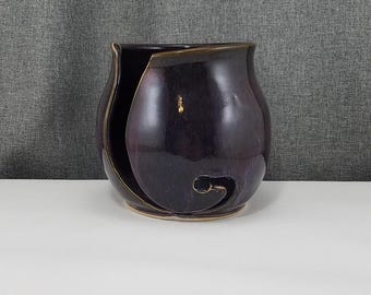 IN STOCK** Pottery Yarn Bowl, Knitting Bowl - Pottery Yarn Bowl - Ceramic Yarn Bowl - Purple Rain