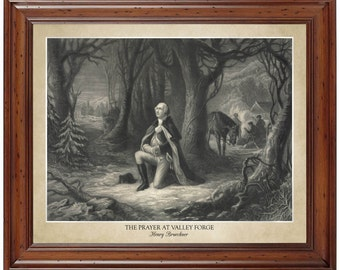 The Prayer at Valley Forge, Henry Brueckner 1866; 16x20 print showing the artist's name and title of painting