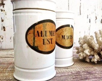 Pair of antique European apothecary jars, porcelain with paper labels