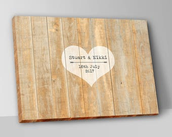 Rustic Wooden Wedding Guest Book Alternative Guest Book Wedding Guestbook Custom Heart Wood Guest Book Canvas Wedding Guestbook