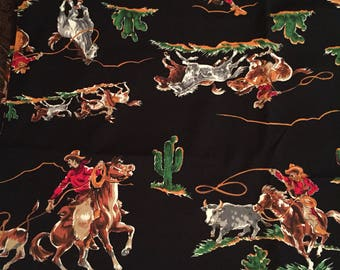 "Cowboy Round-Up Cotton/Polyester ""New""Fabric"