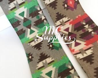 Fabric ribbon,aztec ribbon,wide ribbon,embellished ribbon,sewing ribbon,ribbon for bows,decorative ribbon,scrapbooking ribbon,boho ribbon.