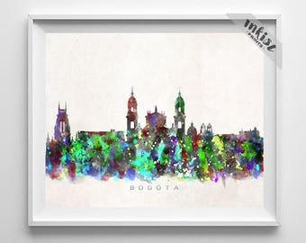 Bogota Skyline Print, Colombia Print, Bogota Poster, Colombian Art, Cityscape, Wall Art, City Art, Wall Decor, Prints, Christmas Gift