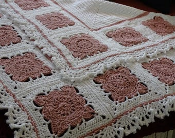 Hand Crochet Granny Square Baby Blanket Ready to Ship