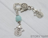 Snowman Stitch Marker Holder with Snowflake Clip Holder, pewter, for knitting