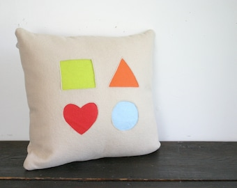 Basic Geometic Shapes Modern Cream and Bright Colors Wool Felt Throw Pillow