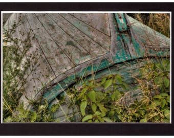 """Lunenburb Green Boat 4""""x6"""" Metallic Print in a 5""""x7"""" matt and ready for you to put in a frame of your choice"""