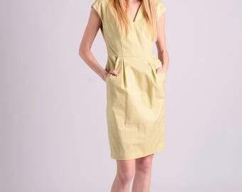 Cotton elegant midi shift dress | yellow green