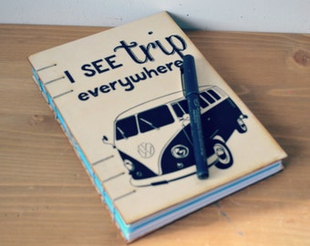 Wooden journal/Travel journal/Trip journal/Wooden notebook/Coptic stitched diary/Blank writing diary/Gift for or for her/ VW bus diary