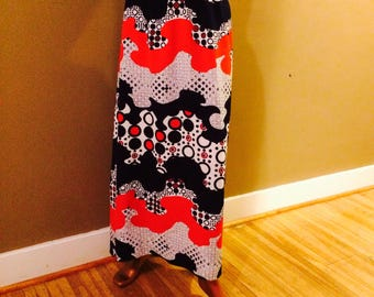 Vintage Maxi Skirt / Vintage 1970s Psychedelic Maxi Skirt / Vintage 70s Maxi